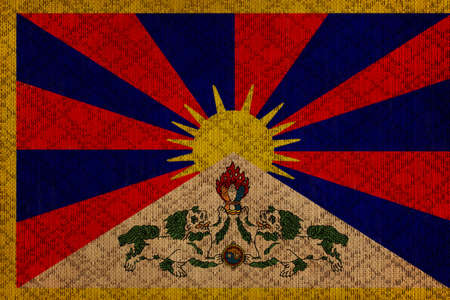 Tibet grunge canvas flag photo