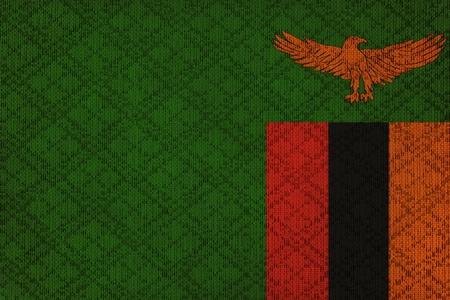 zambian flag: Zambia grunge canvas flag Stock Photo