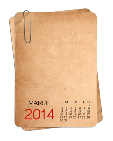 Mars Calendrier 2014 sur la vieille photo vide avec un trombone Banque d'images