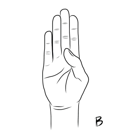 La langue des signes et l'alphabet Illustration
