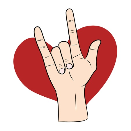 love hand sign with red heart  Vector