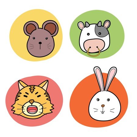 chinese zodiac: chinese horoscope animal set Illustration