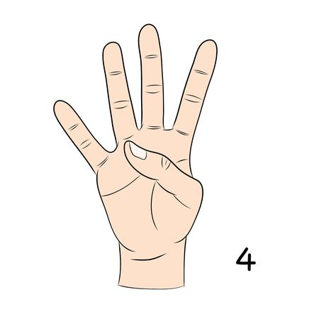 gestural: Sign language and the alphabet,number 4 Illustration