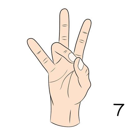 gestural: Sign language and the alphabet,number 7 Illustration