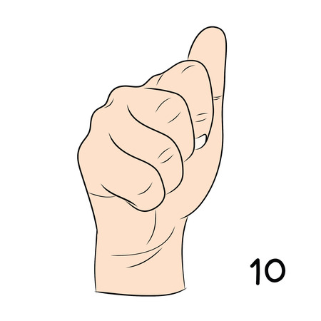 gestural: Sign language and the alphabet,number 10