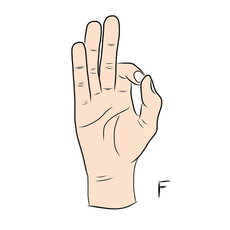 gestural: Sign language and the alphabet,The Letter f