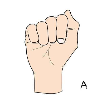 gestural: Sign language and the alphabet,The Letter a Illustration