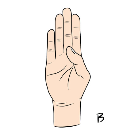 nonverbal: Sign language and the alphabet,The Letter b Illustration