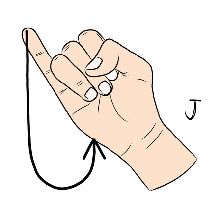 demonstrate: Sign language and the alphabet,The Letter j