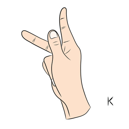 Sign language and the alphabet,The Letter k