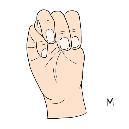 demonstrate: Sign language and the alphabet,The Letter m