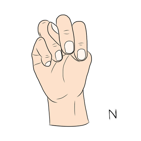 gestural: Sign language and the alphabet,The Letter n