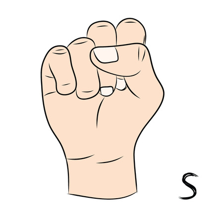 nonverbal: Sign language and the alphabet,The Letter s Illustration