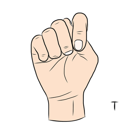 gestural: Sign language and the alphabet,The Letter t Illustration