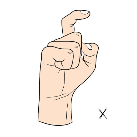 gestural: Sign language and the alphabet,The Letter x