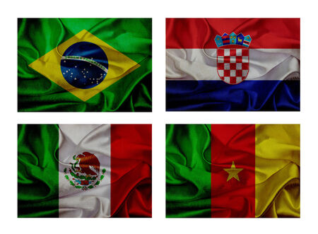 wave flags for soccer championship 2014. Groups A photo
