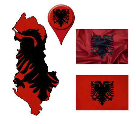 Albania flag, map and map pointers  photo