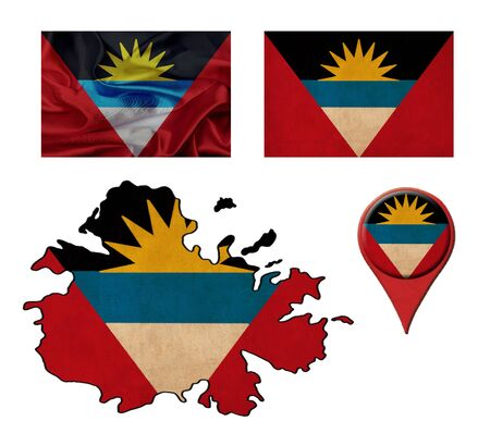 antigua flag: grunge Antigua and Barbuda flag, map and map pointers