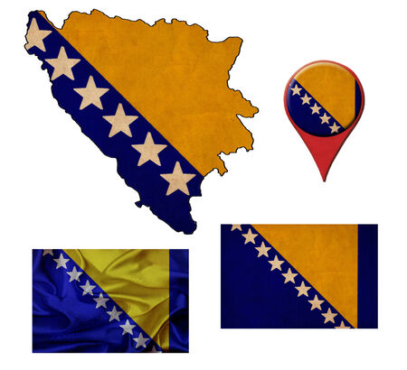 grunge Bosnia and Herzegovina flag, map and map pointers  photo