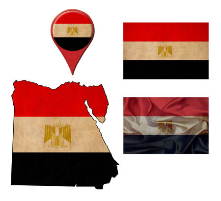 egypt flag: grunge Egypt flag, map and map pointers  Stock Photo