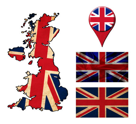 UK flag, map and map pointers  photo