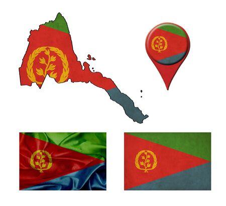 eritrea: Eritrea flag, map and map pointers  Stock Photo