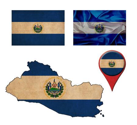 mapa de el salvador: El Salvador bandera, mapa y punteros de la correspondencia Foto de archivo
