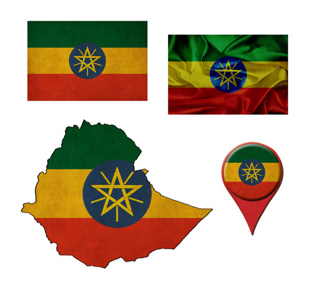 Ethiopia flag, map and map pointers  photo