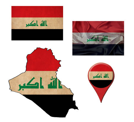 iraq flag: Iraq flag, map and map pointers  Stock Photo