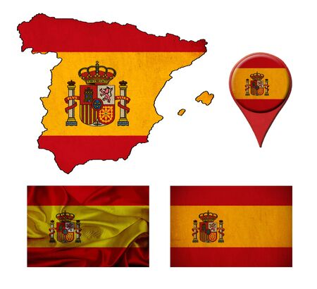 Spain flag, map and map pointers  photo