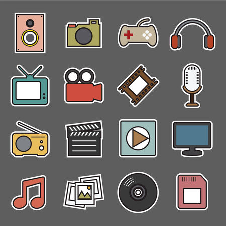 multimedia sticker icon Vector
