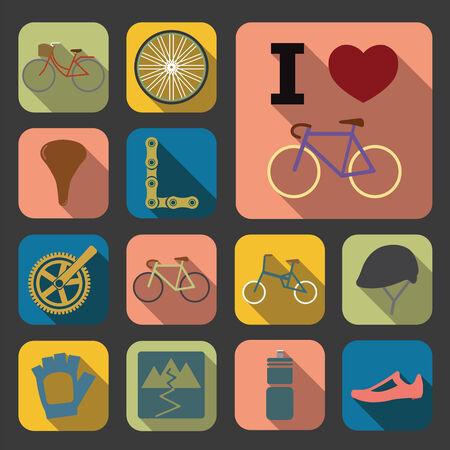 biking glove: flat bicycle icons Stock Photo