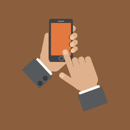 holding smart phone: hand holding smart phone and touching screen Illustration