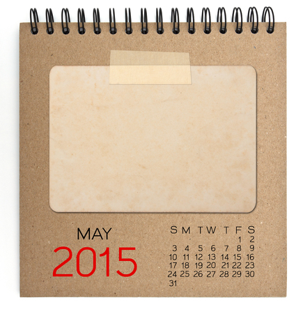2015 calendar brown notebook with old blank photo photo
