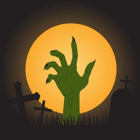 halloween background, zombie hand Vector