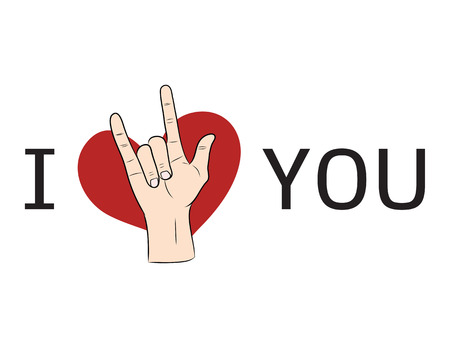 I love You  hand sign with red heart Vector