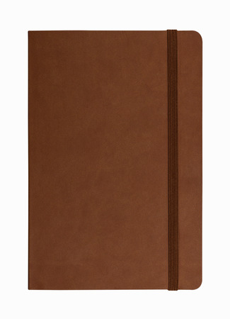 diary: brown leather notebook isolated on white background
