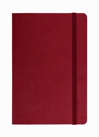 ordinateur portable en cuir rouge isolé sur fond blanc Banque d'images