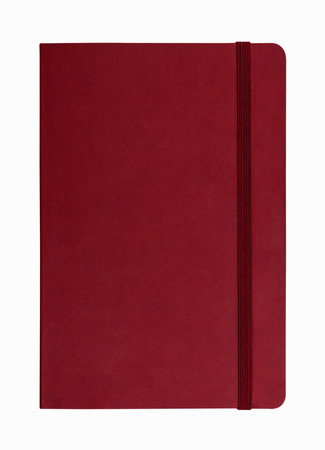 red leather notebook isolated on white background Zdjęcie Seryjne