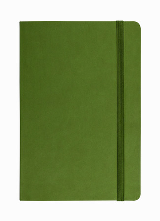 note notebook: green leather notebook isolated on white background