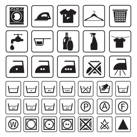 lavadora con ropa: Icono de lavandería y lavado