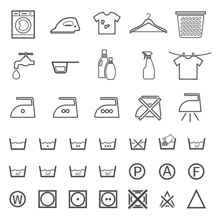 laundry care symbol: laundry and washing icon Illustration