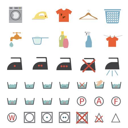 laundry care: laundry and washing icon Illustration