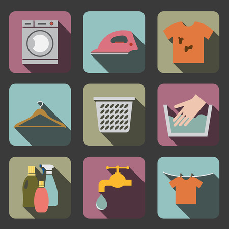 laundry care symbol: laundry flat icon Illustration
