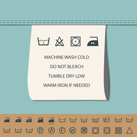 etiquetas de ropa: marca de ropa y el símbolo de lavado