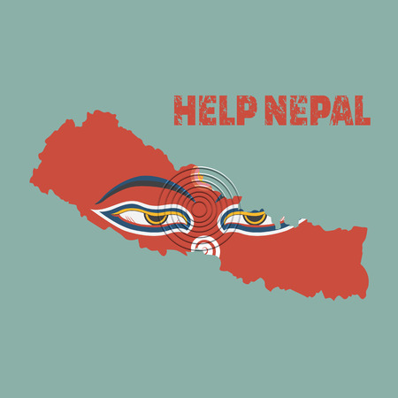 Nepal earthquake,Napal map with buddha eyes, Help nepal Illustration