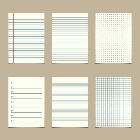 un ensemble de feuilles de papier de ligne millésime Illustration