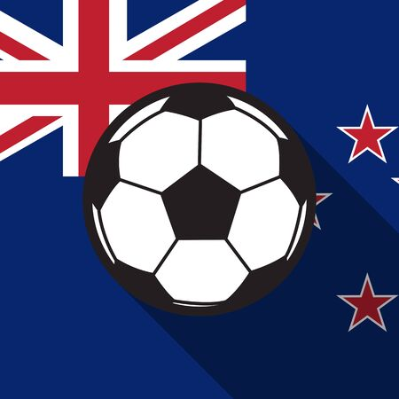 new zealand flag: Icona di calcio con la Nuova Zelanda sfondo bandiera, lunga ombra vettore Vettoriali