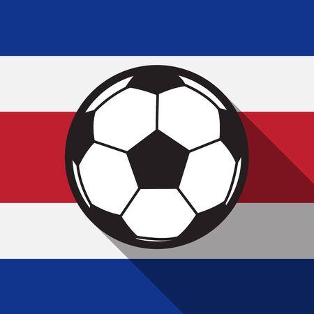 bandera de costa rica: icono del fútbol con la bandera de Costa Rica fondo, vector larga sombra