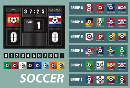 republic of colombia: vector Scoreboard with National Team Flags Template and Set of flip Numbers,woman team group